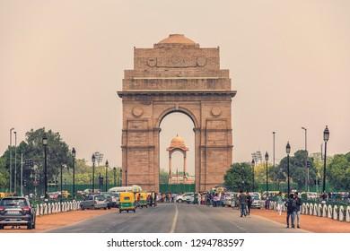 April 2018 - New Delhi, India - The India Gate war memorial in New Delhi