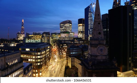 April 2018: Panoramic amazing aerial view to the City of London skyline from just opened Jin Bo Law sky bar at dusk, Dorsett hotel, Aldgate station, London, United Kingdom