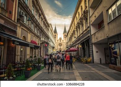APRIL 2018, SARAJEVO BOSNIA: The Sacred Heart Cathedral (Katedrala Srca Isusova) is a Catholic church in Sarajevo commonly referred as the Sarajevo Cathedral. it is the largest cathedral in Bosnia