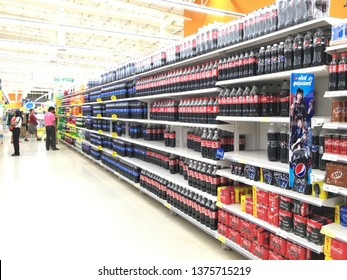 APRIL 2019, BANGKOK THAILAND Coca Cola, Pepsi and many famous soft drink brands are on sales in supermarket during summer time in Thailand. Due to hot weather all beverages are selling very well.