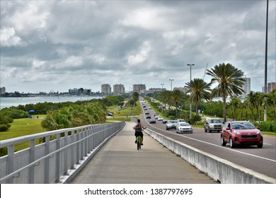 April 2019, Clearwater , FL - a view from the new clearwater bridge that connects the city to the beach