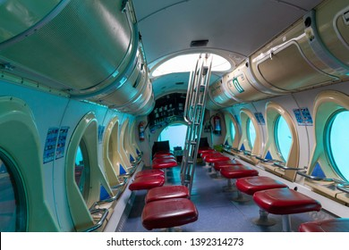 April 2019, Lanzarote, Canary Islands, Spain. Interior of yellow submarine operating out of Puerto del Carmen. Provides tours with undersea views. Submarine tour.