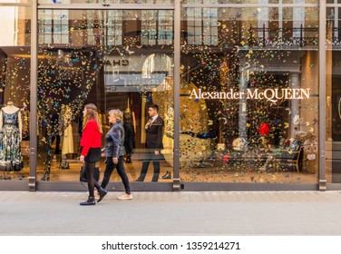 April 2019. London. A view of the Alexander McQueen store on Bond street in london