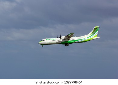April 2019. César Manrique-Lanzarote Airport. Binter ATR 72-600 approaching runway, landing. The ATR 72 is a turboprop-powered regional airliner, capable of accommodating a maximum of 78 passengers.