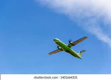 April 2019. César Manrique-Lanzarote Airport. Binter Canarias EC-JQL, ATR 72-500 approaching runway, landing. It is a regional air carrier operating inter-island services within the Canary Islands.