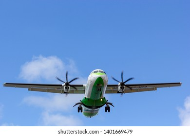 April 2019. César Manrique-Lanzarote Airport. Binter Canarias EC-MTQ, ATR 72-600 approaching runway, landing. It is a regional air carrier operating inter-island services within the Canary Islands.