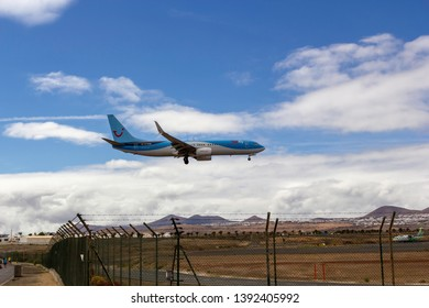 April 2019. César Manrique-Lanzarote Airport. TUI Fly Boeing 737-8K5(WL) approaching runway, landing.  TUI fly Deutschland, formerly TUIfly, is a German leisure airline owned by the TUI Group.