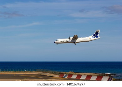 April 2019. César Manrique-LanzaroteFly EC-KGI, ATR 72-500 approaching runway, landing. Canaryfly, is a Spanish airline that operates regular flights between the Canary Islands.
