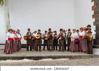 April 2019. Old town of Teguise on the Island of Lanzarote. Easter celebration lanzarote. A group of older people dressed in traditional  Spanish / Lanzarote costumes singing traditional Easter songs.