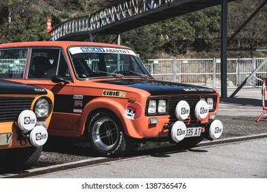 APRIL 2019: SEAT 1430 FU Abarth old car in montjuic spirit Barcelona circuit