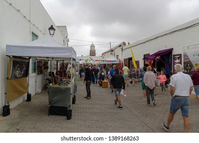 April 2019. Teguise or La Villa town on Lanzarote island. Lanzarote's Saturday street market. Weekly flea market. One of the best Canarian markets in the north of Lanzarote.