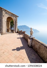 April, 2019: White statues decorate a Terrace of Infinity in Villa Cimbrone above the sea in Ravello, Amalfi Coast, Italy.