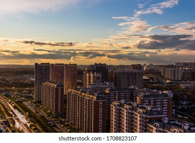 April 2020. Panorama view of Drozhzhino village in sun set. Moscow area. Russia.
