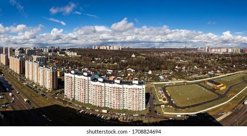 April 2020. Panorama view of Drozhzhino village. Moscow area. Russia.