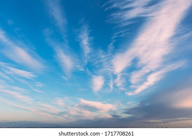 April 2020. Spindrift clouds in Drozhzhino village. Moscow area. Russia.