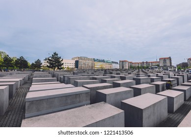 April, 20th, 2017 - Berlin, Germany. Memorial to the Murdered Jews of Europe also known as Holocaust memorial.