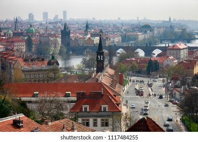 April 21, 2013, the Czech Republic, Prague. Beautiful view of the city and Charles Bridge from above