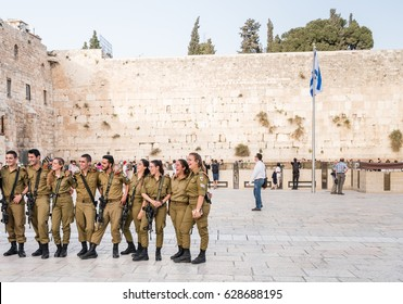 April 21, 2017- Western wall Old city Jerusalem Israel. Soldiers of Israel defense force at the Western Wall.