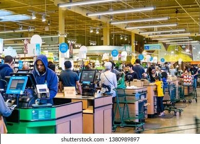 April 21, 2019 Los Altos / CA / USA - Whole Foods store cash register check out lanes, south San Francisco bay area