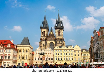 April 22, 2013, the Czech Republic. Prague. Old Town Square with Church of Our Lady before Tyn at sunny day