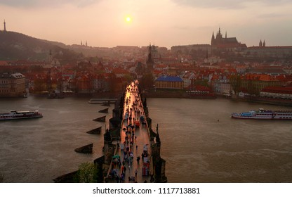 April 22, 2013, the Czech Republic, Prague. Beautiful view of the Charles Bridge and the city at sunset
