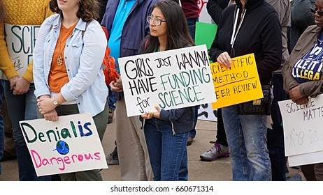 April 22 2017 Little Rock Arkansas protesters gathered during the March for Science at the Arkansas state capitol