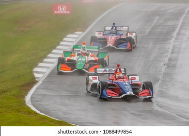 April 22, 2018 - Birmingham, Alabama, USA: MATHEUS LEIST (4) of Brazil brings his car through the turns during the Honda Indy Grand Prix of Alabama at Barber Motorsports Park in Birmingham Alabama.