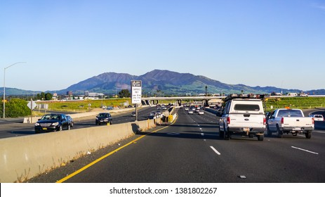 April 22, 2019 Concord / CA / USA - Driving on the freeway in east San Francisco bay area; Mt Diablo in the background