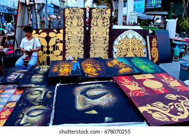 """April 22nd, 2017, Mueang, Chiang Mai, Thailand, Some of the local painting shop at Waulai walking  street where is the tourist attraction place on Saturday night. """"Editorial use only"""""""