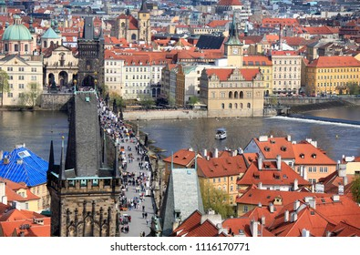 April 23, 2013, Czech Republic, Prague. Beautiful view of the city and the Charles Bridge tower