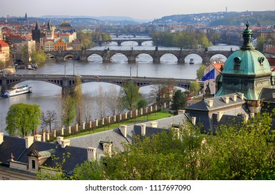 April 23, 2013, Czech Republic, Prague. Beautiful view of the bridges across the Vltava river