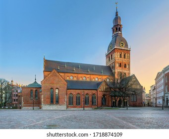 APRIL 23, 2020 - RIGA, LATVIA: Empty streets of Old Town, Riga Cathedral building in coronavirus COVID-19 pandemic quarantine time