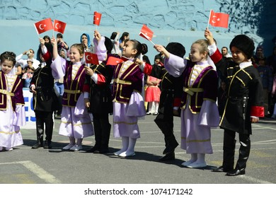 April 23, National Sovereignty and Children's Day celebrations. It is one of the public holidays in Turkey. Halit Dervis ?brahim Primary School, Eyüp, Istanbul, Turkey. April 2017