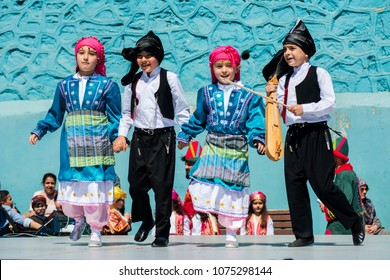 April 23, National Sovereignty and Children's Day celebrations. It is one of the public holidays in Turkey. Halit Dervis Ibrahim Primary School, Eyüp, Istanbul, Turkey.23 April 2018