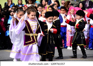 April 23, National Sovereignty and Children's Day celebrations. It is one of the public holidays in Turkey. Halit Dervis Ibrahim Primary School, Eyüp, Istanbul, Turkey.April 2016