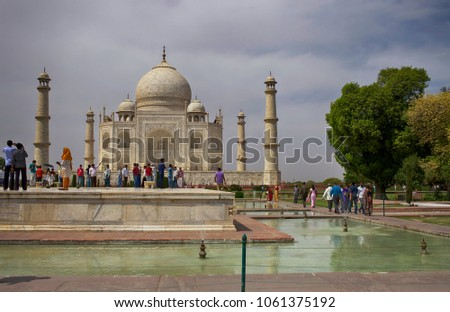 April 24, 2012, Agra. India. Beautiful architectural complex, a temple of white marble Taj Mahal