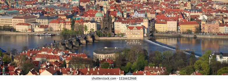 April 24, 2013, the Czech Republic, Prague. Beautiful panoramic view of the city and Charles Bridge from above