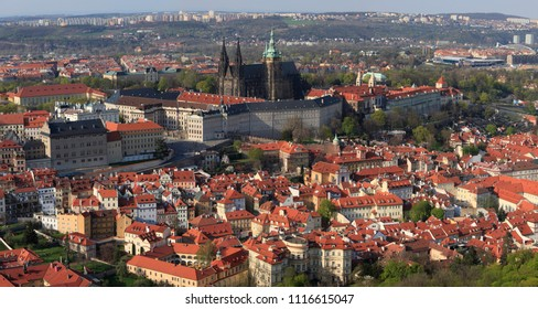 April 24, 2013, the Czech Republic, Prague. Beautiful panoramic view of the city and Prague Castle from above