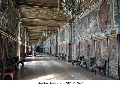 April, 24, 2015 - Fontainebleau, France : Interior view of the Fontainebleau Palace ( Chateau de Fontainebleau ). It was added to the UNESCO list of World Heritage Sites.
