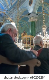 APRIL 24,2011 ISTANBUL.Ayios Demetrios Church.The Paschal Greeting, also known as the Easter Acclamation, is an Easter custom among Eastern Orthodox, Oriental Orthodox, and Eastern Catholic Christians