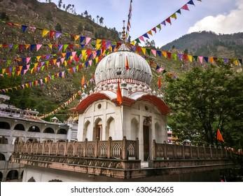 April, 24th, 2016 - Manikaran, Parvati valley, Himachal Pradesh, North India. View of the Manikaran. Manikaran with thermal springs is a pilgrimage centre for Hindus and Sikhs