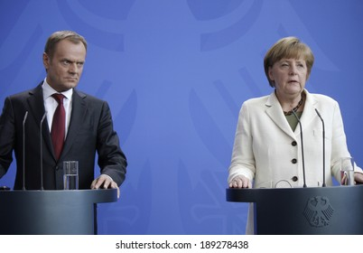 APRIL 25, 2014 - BERLIN: Donald Tusk, Angela Merkel at a press conference after a meeting of the prime minister of Poland and the German Chancellorin the Chanclery in Berlin.