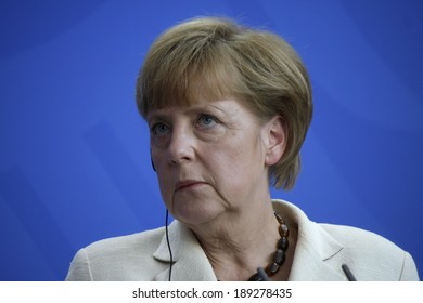 APRIL 25, 2014 - BERLIN: German Chancellor Angela Merkel at a press conference after a meeting with the prime minister of Poland in the Chanclery in Berlin.