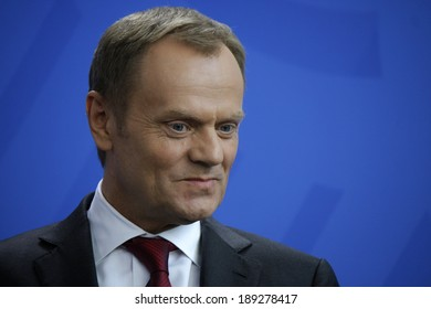 APRIL 25, 2014 - BERLIN: Polish Prime Minister Donald Tusk at a press conference after a meeting withthe German Chancellor in the Chanclery in Berlin.