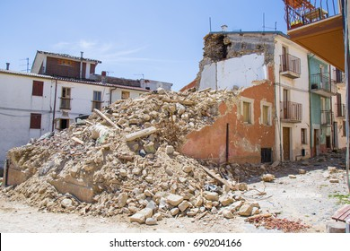 """April 25, 2017, Camposto, province of L'Aquila, Abruzzo, Italy """"Damage caused by the earthquake."""" Ruined or seriously injured structures rendered ineffective after the earthquake."""