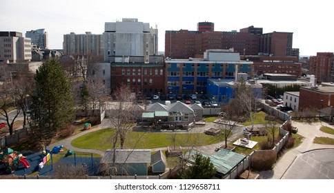 April 25 ,2018- Halifax, Nova Scotia: Looking down over the children's side playground of the IWK Hospital, and looking out over University Avenue with the Dickson Building of the QE2 Hospital