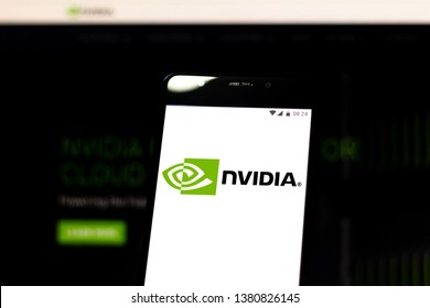 April 25, 2019, Brazil. Nvidia logo on the mobile device. Nvidia is a multinational technology company. It designs graphics processing units (GPUs) for the gaming and professional markets.