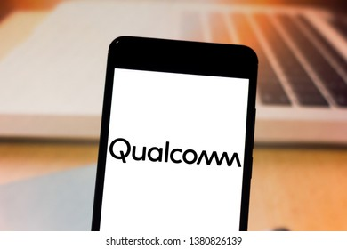 April 25, 2019, Brazil. Qualcomm logo on the mobile device. Qualcomm is a US company that produces the chipsets of CDMA and W-CDMA technology phones.