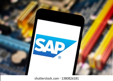April 25, 2019, Brazil. SAP logo on the mobile device. SAP is a company of German origin, creator of software of management of companies.
