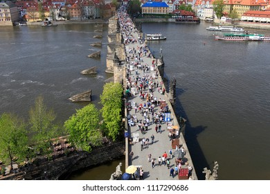April 26, 2013, the Czech Republic, Prague. View from above on the Vltava River and Charles Bridge, where many tourists